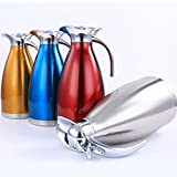 Flasks Vacuum Jug Insulation Pot,2L Stainless Steel Coffee Thermal Carafes Double Wall Juice Milk Tea Pot (Color : Blue)