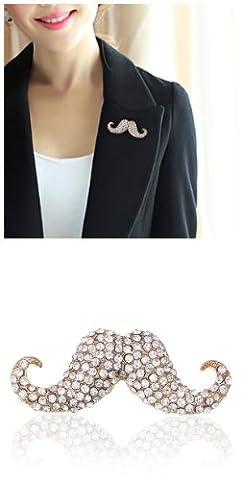 Broche moustache de cristal F1317 5 pièces