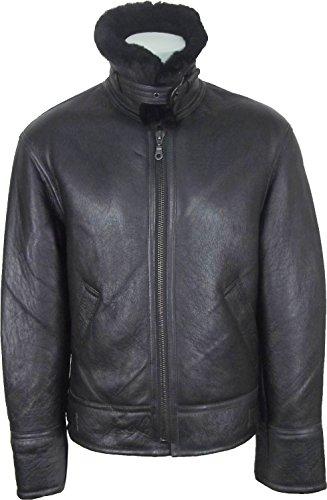 UNICORN Männer Echte Leder Jacke Schafspelz fliegend Luftwaffe Flieger Mantel - Schwarz mit schwarzem Fell #s0 Größe 50