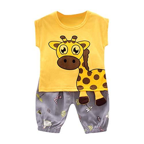 by Jungen Kinder Nette Hübsche 3D Cartoon Slim Fit Giraffen Tops T-Shirt + Print Shorts Outfits Set ()