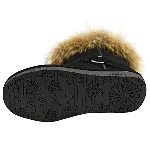 Oasap Femme Chic Fourrure Tasseled Hiver Bottes Fourées Black