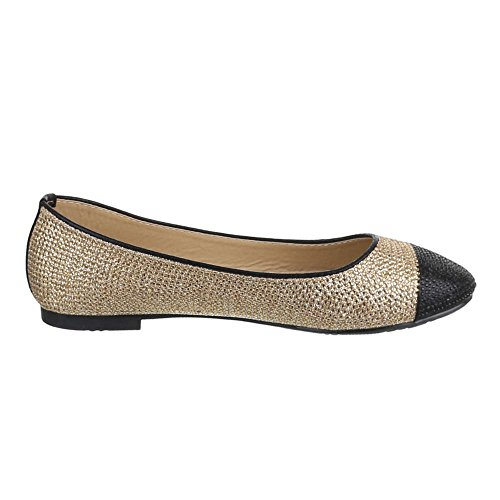 Ital-Design Damen Schuhe, JA10122, Ballerinas Pumps Gold