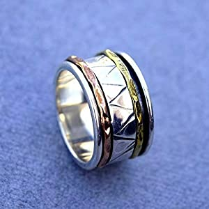Meditationsringe, Spinnerringe, Silberringe für Frauen, Spinning Ring for Women, Spinner Band Rings, Anxiety Ring for Meditaion, Textured Ring, 925 Sterling Silver Band, Brass and Copper Spinner Ring