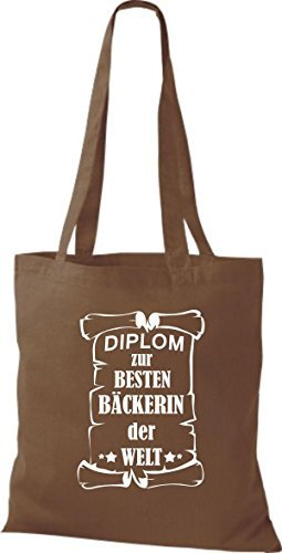 shirtstown Borsa di stoffa DIPLOM A MIGLIOR Bäckerin DEL MONDO Marrone chiaro