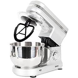 Duronic SM100 SR Robot pâtissier de cuisine / Batteur sur socle compact avec batteur / mélangeur / pétrisseur - Bol en inox de 4 litres et couvercle idéal pour pains, brioches, pâtisserie, crêpes