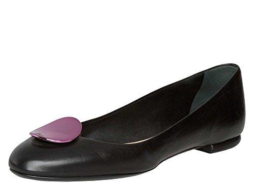 Dior Femmes Ballerines cuir véritable Noir