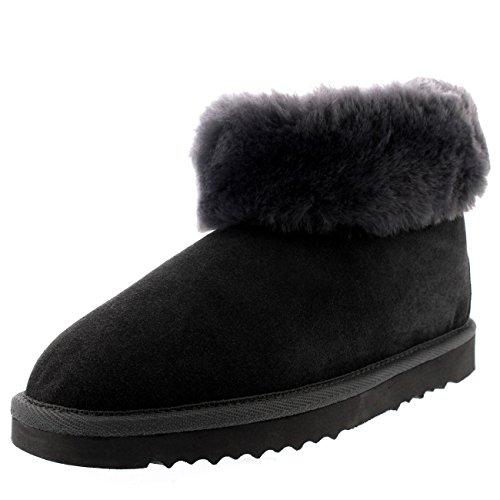 Polar Damen Echten Australischen Schaffell Dicke Manschette Pelz Gefüttert Gummi Sole Pantoffeln Stiefel - Grau - UK3/EU36 - YC0419 -