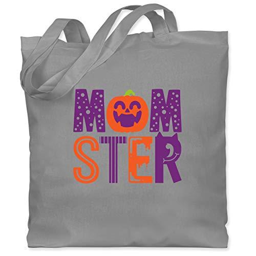 Shirtracer Halloween - Momster - Unisize - Hellgrau - WM101 - Stoffbeutel aus Baumwolle Jutebeutel lange Henkel (Besten Am Ideen Halloween-kostüm 2019)