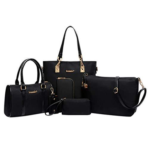 Weisefrauen Freien sechsteilige gesetzte Reißverschlussnylon Normallack rucksack Reisetasche, Damen Handtasche Leder Tasche Shopper Tasche Laptop Handtasche für Arbeit/Geschäft/Hochschule (Schwarz) -