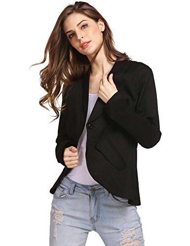 Zeela Damen Blazer Tailliert Schal Kragen Langarm Elegant Kurzjacke Ein Knopf Verschluss Business Jacke mit Taschen (Knopf 1 Kragen Schal)