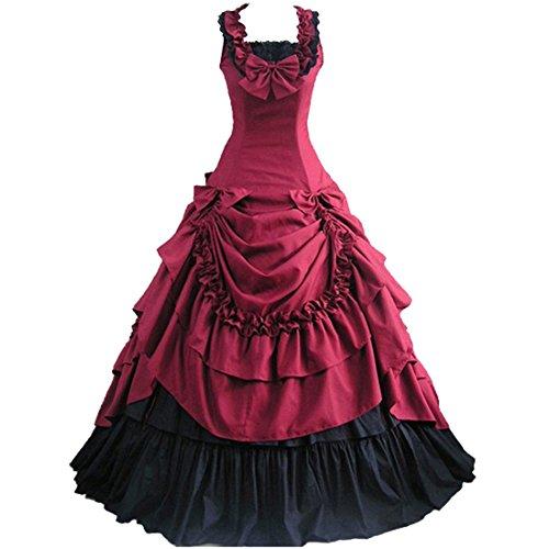 Partiss Damen ärmellose Ballkleid gotische Lolita Abendkleid mit Bowknot für die Hochzeit(XL,Wine...
