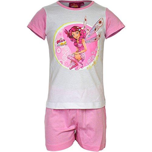 Mia and Me Pigiama Estivo 2pz Bambina Maglietta e Pantaloncino Prodotto Ufficiale Novità OE2111 [3 anni - 98 cm - Bianco/Rosa]