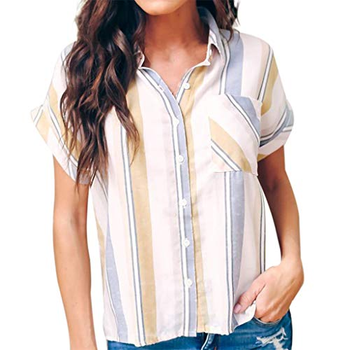 CAOQAO 2019 Sommer Damen Kurzarm Streifen Print Mode Bluse T-Shirt Bluse Tank Tops Knopfleiste Bluse (XXL,Weiß)