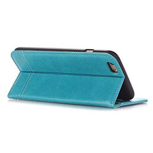 """MOONCASE iPhone 6 Plus/iPhone 6s Plus Coque, Card Slots Kits Portefeuille Cuir Housse Flexible Silicone Antichoc à rabat avec Béquille Étuis Case pour iPhone 6 Plus/6s Plus 5.5"""" Noir Bleu"""