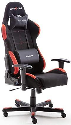 Robas Lund DX Racer 62501SR4 - Silla gaming/escritorio/oficina con ruedas, 78 x 52 x 124-134cm, plástico, reposabrazos, altura ajustable, negro y rojo