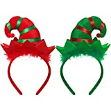 2 Stücke Weihnachten Stirnband Elf Stirnband Bunten Elf Hut Stirnband für Mädchen Frauen Weihnachten Party Favors