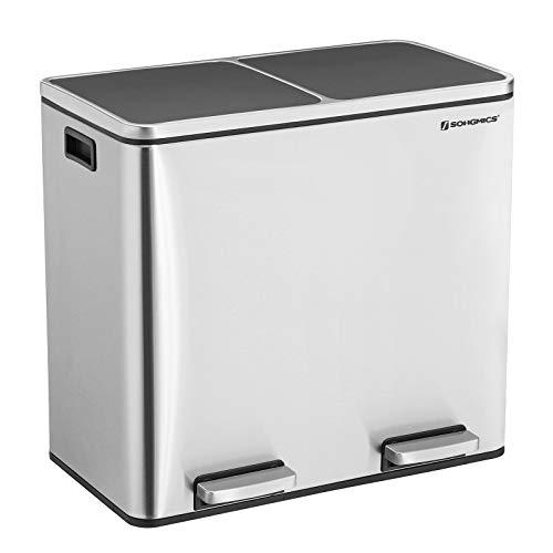SONGMICS 48 L Mülleimer Mülltrennung Mülltrennsysteme mit 2 Inneneimern Treteimer für Küche Edelstahl 2 x 24 L LTB48NL