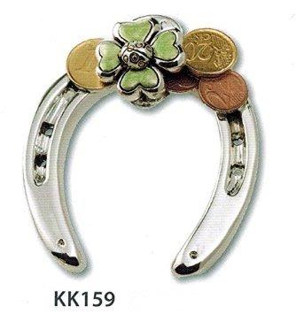 Ferro di cavallo portafortuna argento con coccinella quadrifoglio e soldi smaltati kikke cm10x7,5 laminato argento made in italy