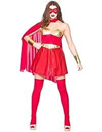 Ladies Hot Red/Gold Avenging Super Hero Fancy Dress Costume