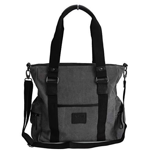 Canvas Ein-schulter-umhängetasche (Canvas Schulter Tasche von Harolds - geräumige Damentasche, Shopper, Umhängetasche, Vintage Handtasche - Baumwollstoff (Grau) - präsentiert von ZMOKA®)