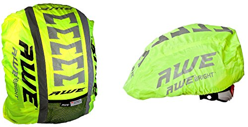 AWE High Visibillity 3M Scotchlite Reflective Helmet & Rucksack Cover Set Best Price and Cheapest