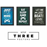 HUNGOVER Wall Art -Gamer Video Games Combo Framed Posters (Paper, Multicolour, 13.5 X 10 Inches) - Set Of 3