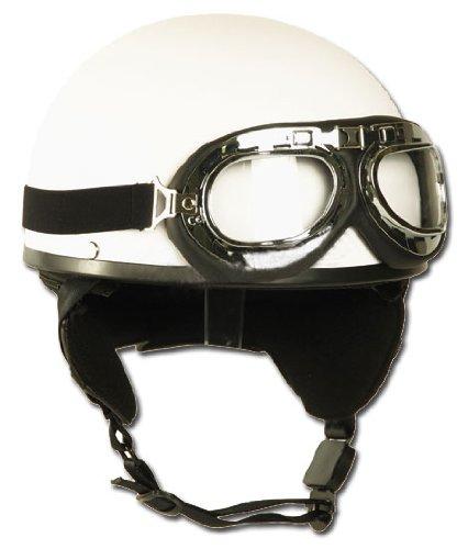 Helm Halbschale mit Brille weiß S,Weiß