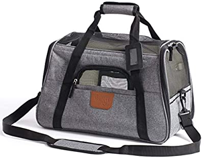 Hartann Pet Carrier Dog/Cat/Puppy/Rabbit Lightweight Luxury Soft Sided Folding Grey with Fleece Bed by Hartann Ltd.