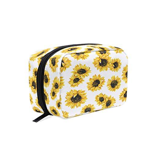 (Kosmetiktasche mit Sonnenblumen-Motiv, für Damen, Blumen, tragbar, Organizer, Aufbewahrungstasche)