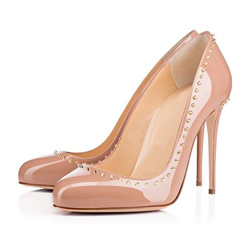 Onlymaker Damen Pumps High Heels Klassisch Stiletto mit Nieten Schuhe nackt
