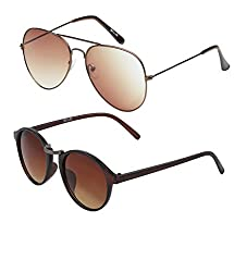 9d3bea019d 75%off Vast Combo Of 2 UV Protection Gradient Aviator and Double Shaded  Retro Round Unisex Sunglasses (