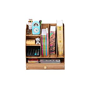 ZHAO ZHANQIANG DIY Multifunctional Wooden Office File Rack, Multi-layer File Management Rack, Desktop Debris Storage Rack, (Color : QT41, Size : Cherry wood B02)   9