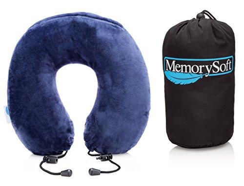 Lussuoso Cuscino da Viaggio / Cuscino Cervicale da MemorySoft - Schiuma Memory Ergonomica, Soffice e Confortevole per Aereo - Include una Borsa da Viaggio - [Piccolo Modello]