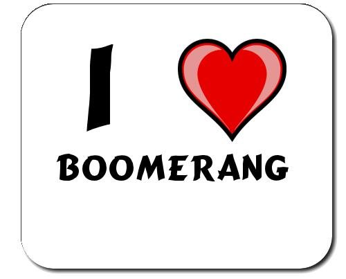 Mauspad mit Aufschrift Ich liebe Boomerang (Vorname/Zuname/Spitzname)