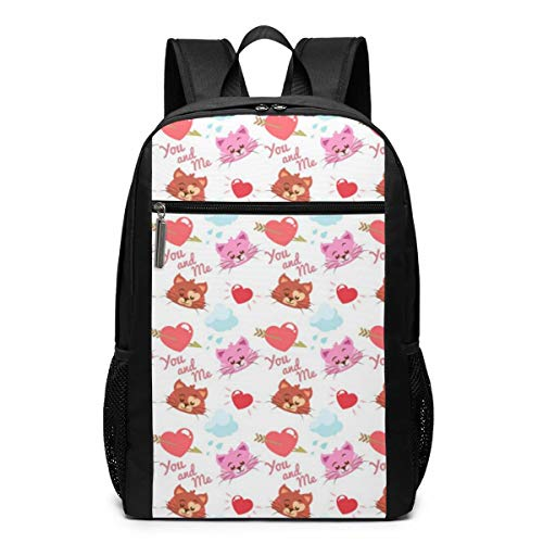 GgDupp Kitty with Heart School Bag Travel Backpack 17 Inch Laptop Bag