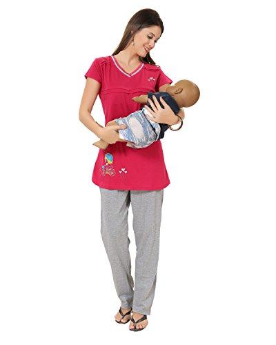 AV2 Women's Solid Top & Pyjama Set - Medium