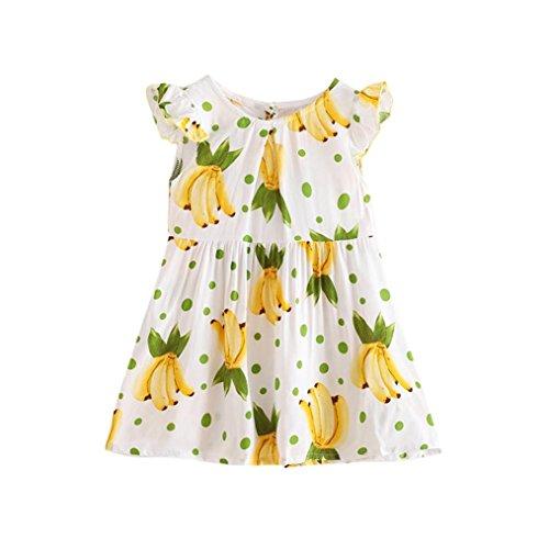 HUIHUI Kleid Mädchen, Toddler Mädchen Bowknot Banane Drucken Sommerkleid Party Prinzessin TUTU Dress Casual Rüschen T-shirt Kleid Frühlings Herbst Cocktailkleid (110 (3-4Jahr), Gelb)