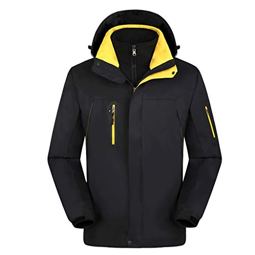 MOTOCO Herren Softshell Jacke mit Kapuze Outdoor Sport Winddicht Wasserdichtes Futter Abnehmbarer weicher Mantel Mit Reißverschluss(XL,Schwarz)