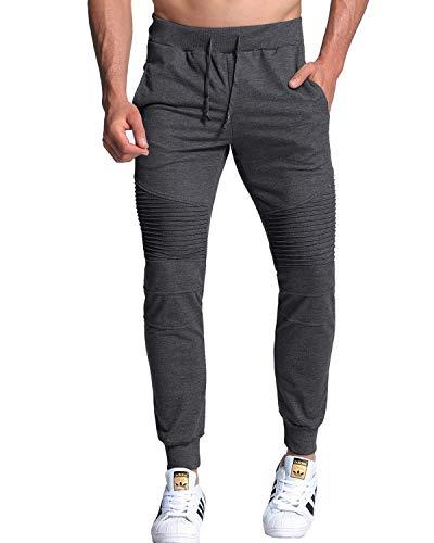 f863ad79bdc MODCHOK Homme Pantalon Jogging Sarouel Survêtement Sweat Pants Sport Longue  Slim Fit Gris foncé 1 L