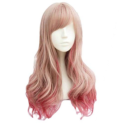 Fading Or Gris/Rose Rouge 65 cm 2 cosplay Tone pleine perruque de longs cheveux bouclés