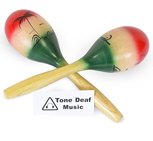 Tone Deaf Music Pair of wooden maracas hand painted with green & red (2 per pack)