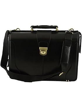 Echtes Leder Doktortasche, 3 Innenfächer Farbe Schwarz - Italienische Lederwaren - Aktentasche