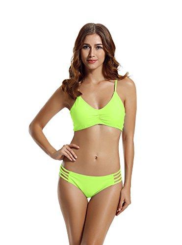 Punch Cup (Zeraca Damen Strap Side Bikinihosen Racerback Bikini bademode (M Euro 40, Lime Punch))