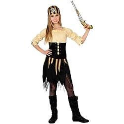 Disfraz de pirata para niña, marrón y negro, varias tallas.