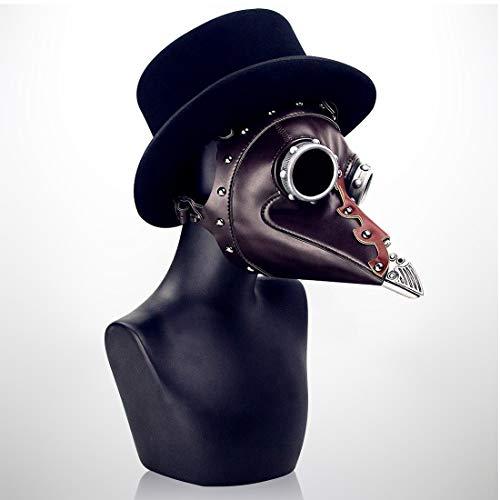 KERVINFENDRIYUN YY4 Metallic Style Lange Nase Vogel Maske Schnabel mittelalterlichen Steampunk Halloween Party Maskerade Kostüm Requisiten braun