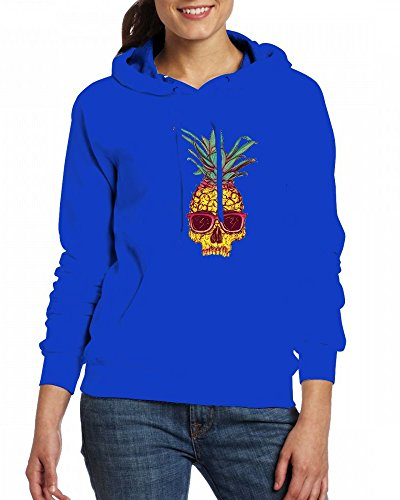 Pineapple skull with glasses Womens Hoodie Fleece Custom Sweartshirts blue