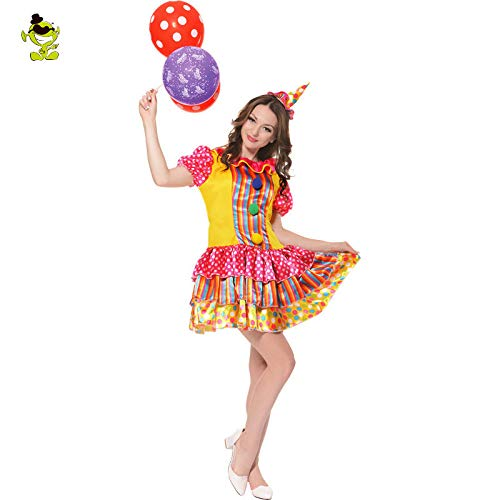 GAOGUAIG AA Womens Pretty Clown Kostüm bunt und lustig for Erwachsene Cosplay Party Kostüm Outfits Pariser Kostüme SD (Color : Onecolor, Size : Onesize) (Pretty Woman Kostüm Kleid)