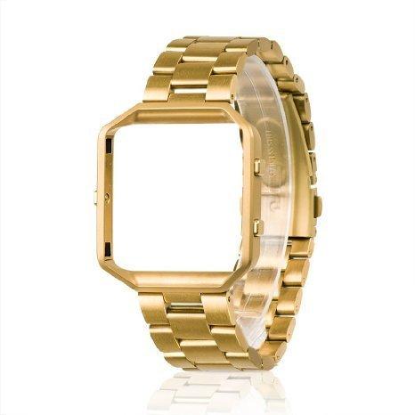 Wearlizer Kompatibel Fitbit Blaze Armband mit Rahmen, Edelstahl Strap Ersatzarmband Band für Fitbit Blaze Armband Herren Damen