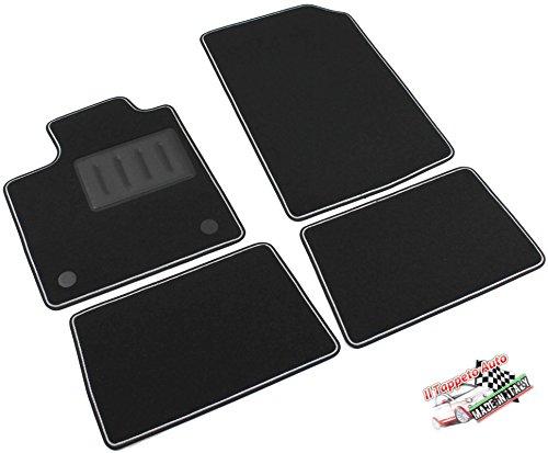 Il Tappeto Auto, SPRINT03709 - Alfombrillas de moqueta para el coche, color negro, antideslizantes, borde bicolor, talonera reforzada con goma, para Twingo II de 2007 a 2014.