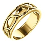 Alianza de boda infinita de oro amarillo de 14 quilates, 6 mm, talla 7